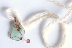 Aquamarine sea glass pendant Swirls wire wrapped by SeaZephyr, $18.00