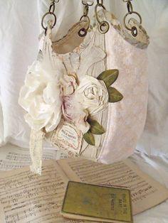 beautiful shabby chic rose purse