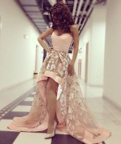 High And Low Sweetheart Embroidery Prom Dress Homecoming Dress Graduation Dress