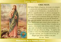 Misioneros de la Palabra Divina: SANTORAL - SANTA MARTA