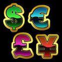 Signos de dólar, euro, yen y libra de vector.