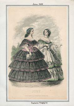Graham's Magazine, June 1858. LAPL Visual Collections  Civil War Era Fashion Plate