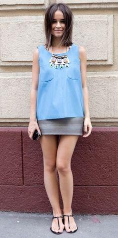 miroslava duma - summer style - minimal dress and statement necklace