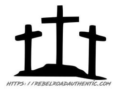 Triple Cross Vinyl Decal Simple Cross Tattoo, Cross Tattoo For Men, Cross Tattoo Designs, Tattoo Design Drawings, Cross Designs, Cross Tattoos, Cross Silhouette, Silhouette Images, Deer Stencil