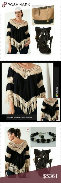 🎉🎈HP🎉🎈Crotchet fringe V neck top (XL, 1X, 2X) Sexy and modern fringe V neck top. Pair with jeans or Jeggings. Dress up with heels or down with flats. Thank you and Happy Poshing!!! Tops