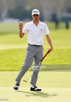 Justin Thomas waves to the crowd on the 17th hole during round three of the Northern Trust Open at Riviera Country Club on February 21, 2015 in Pacific Palisades, California.