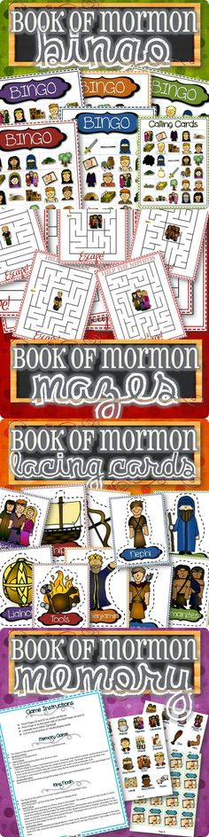 LDS activities and games for kids! Games include Book of Mormon Bingo, 15 different Mazes, Lacing Card files and Memory/Old Maid. Plenty of activities to keep kids busy on Sundays learning characters and items from the Book of Mormon.