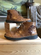 Josef Seibel 37 Light Brown Leather Short Lace Up Ankle Boots Flower