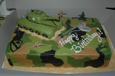 boys birthday cakes pictures | Cake for a little boy who wanted an army cake with a tank. This was my ... Camo Birthday Cakes, Camo Cakes, Army Birthday Parties, Army's Birthday, Golden Birthday, Birthday Wishes, Birthday Ideas, Army Cake, Military Cake