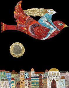 journey_v ~ by icmosaics ~ Irina Charny Mosaic artist Inspiration, Creative, Mosaic Madness, Art, Mosaic Art, Stained Glass Art, Mosaic Birds, Jewish Art, Glass Art