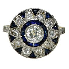 Sapphire Diamond Two Color Gold Ring 2