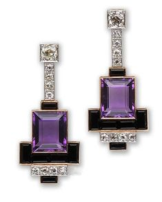 Amethyst, onyx and diamond earrings - Art Deco