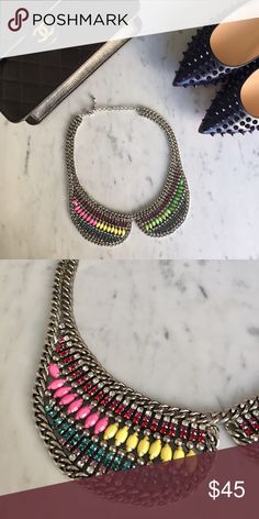 Multicolored Colored Collar Necklace Add a colorful edge to any look with this collar necklace. Style it with a black tee and some distressed denim for a fun look! Jewelry Necklaces