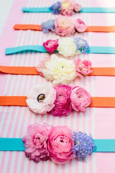 DIY Flower Bracelet I'm always looking for awesome color combos. These are nice!