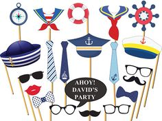 Add some fun to your upcoming party with this huge collection of Nautical party photo booth props! Seaman, Nautical, Captain, Sailor, Sea Photo Booth Props-Sailor Props Make your party day fun and memorable with these trendy photo booth prop. Cruise Theme Parties, Cruise Ship Party, Sailing Party, Sailing Theme, Nautical Photo Booth, Nautical Party, Photos Booth, Photo Booth Props, Party Props