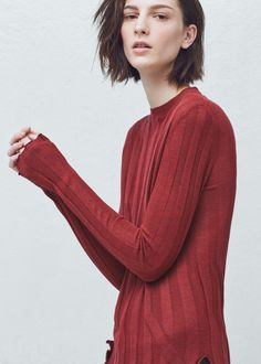 Premium - ribbed fine-knit sweater - Trousers for Woman | MANGO Denmark