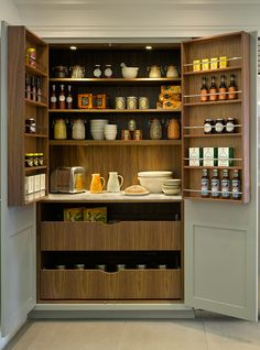 Kitchen Pantry Design Ideas, Pictures, Remodel and Decor Pantry Cupboard Designs, Kitchen Larder Cupboard, Kitchen Pantry Design, Kitchen Interior, Kitchen Storage, Wall Pantry, Utility Cupboard, Larder Unit, Cupboard Ideas