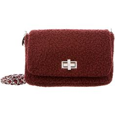 Pre-owned M Missoni Burgundy Shearling Crossbody Bag ($195) ❤ liked on Polyvore featuring bags, handbags, shoulder bags, burgundy, purse shoulder bag, shoulder strap bags, hand bags, cross-body handbag and man shoulder bag