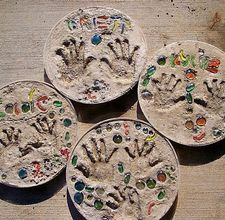 Since we'll be moving around in the military so much, I want to do this when the kids are older and use them as stepping stones. Let them do a hand print and their names and then whatever else. Also reminder: at least get pictures of S + fam's from the house before we sell it.