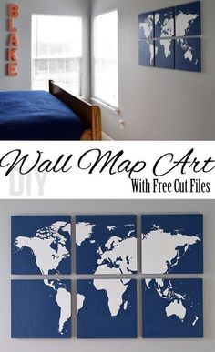 DIY Wall Map Art for the wall. This world map is made with a silhouette cameo and the FREE cut files are included. Love this!