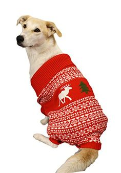 Holiday Reindeer Dog Sweater Red Christmas Ugly Sweater X-large XL by Festified Large Dog Sweaters, Red Sweaters, Ugly Sweater, Funny Christmas Sweaters, Dog Shower, Dog Shedding, Dog Diapers, Dog Hoodie, Outdoor Dog