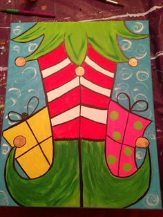 Christmas Elf Canvas Painting by WindersWhimsy on Etsy Noel Christmas, Christmas Signs, Simple Christmas, Christmas Decorations, Whimsical Christmas, Christmas Projects, Holiday Crafts, Christmas Paintings On Canvas, Holiday Canvas