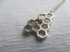 Honeycomb Necklace in Sterling Silver with Yellow CZ via Kristen Baird Designs on @Etsy.