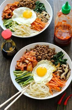 This 30 Minute Korean Bibimbap Recipe is a mix of sesame fried vegetables, mince. This 30 Minute Korean Bibimbap Recipe is a mix of sesame fried vegetables, minced beef & kimchi, served with rice & a fried egg for a delicious stir fry! Korean Food Recipes, Healthy Food Recipes, Cooking Recipes, Drink Recipes, Recipes Dinner, Gluten Free Korean Food, Healthy Foods, Easy Recipes, Vegan Korean Food