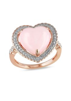 On ideel: AMOUR 0.03 TCW Diamond and 4.25 TCW  Pink Opal Heart Ring