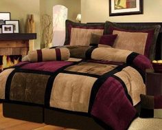 7 piece burgundy brown black bed in a bag micro suede king comforter set