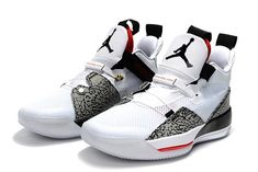 fe7bd00ba3bbc9 Mens Air Jordan 33 White Cement Elephant Print Basketball Shoes-4 Sneakers  Nike Jordan