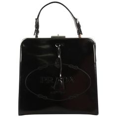 6d0c9581af27df For Sale on 1stdibs - This authentic Prada Frame Handle Bag Spazzolato  Leather Small is an