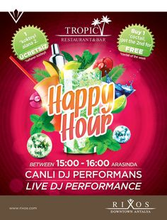Hergün, 15:00-16:00 saatleri arasında Rixos Downtown Tropic Latino Bar 'da Deep House Party ! Haftanın kokteylini mutlaka denemelisiniz ‪#‎HappyHour‬ #HappyHour with DJ Performance @Clair Smith Bar ,everyday between 3-4 pm.You should try the coctail of the week. ‪#‎rixosgourmet‬