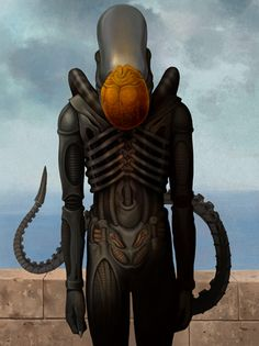 Alien reenacts René Magritte's The Son of Man