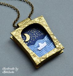 Sea necklace Sea pendant Sea jewelry Blue necklace Blue pendant Blue jewelry 3D necklace 3D pendant Polymer clay jewelry Unusual necklace