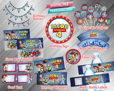 Toy Story 4 Printable Birthday Package - PrintDParty Selling Birthday Invitation and Printable Party Decoration Digital File. Toy Story Invitations, Printable Birthday Invitations, Party Printables, 4th Birthday Parties, Birthday Party Decorations, Birthday Packages, Party Kit, Party Ideas, Bag Toppers