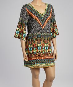 Take+a+look+at+the+Green+Geometric+V-Neck+Dress+-+Plus+on+#zulily+today!