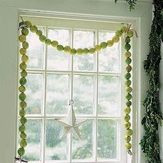 This garland made from key limes is fresher and more unusual than your typical cranberry strand. To make it, use a carpet needle to string limes on a 1/8-inch-thick hemp cord, and finish the ends with satin ribbon.