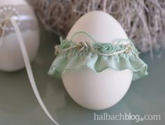 halbachblog I Ostereier basteln I Pastell I Rüschenband und Rosenlitzeosenlitze-mint