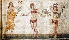 One of many beautiful mosaics from a large Roman villa near Piazza Armerina, Sicily, features girls dressed in what look like bikinis. Ancient Rome, Ancient Greece, Ancient Art, Greek Fashion, Women's Fashion, Roman History, African Artists, Roman Art, Costume