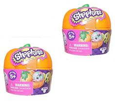 Set of 2 Shopkins Surprise Pumpkins - a total of 4 Shopkins including a chance for limited edition glow in the dark figures. Great for Halloween parties or to just collect these one of a kind Shopkins...