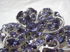 Flower Purple Rhinestone Brooch Silver by vintagejewelryalcove, $32.50