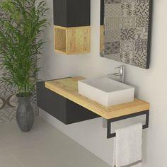Bathroom Vanity Units, Laundry Room Bathroom, Small Bathroom, Bathroom Design Luxury, Bath Design, Home Interior Design, Metal Furniture, Bathroom Furniture, Table Furniture