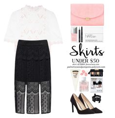 """Skirts Under $50"" by palmtreesandpompoms ❤ liked on Polyvore featuring Temperley London, Forever New, Mansur Gavriel, Pelle Moda, Christian Dior, NARS Cosmetics, Chanel, Jimmy Choo, Yves Saint Laurent and Bobbi Brown Cosmetics"