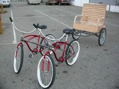 My 2005 BM art grant project - BRC Rickshaws - six of these were built and loaned out to artists and theme camps that year for each to be uniquely decorated. Note the sociable tandem setup of the cruisers, and the leafsprings on the trailer wheels for a smooth ride ;)