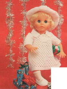White crochet dress and hat, pattern of the month for First Love Doll from Checkers Value, December Doll Patterns, Clothing Patterns, Print Patterns, Crochet Clothes, Larger, Doll Clothes, First Love, December, Teddy Bear