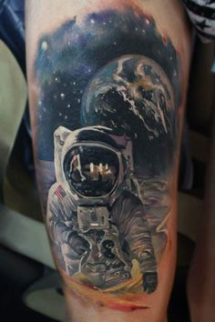 Astronaut and Space Tattoo by Sergey Shanko posted by Imperial  Connexion Facebook