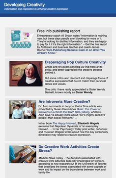 New issue of weekly Developing Creativity newsletter - you can subscribe free  http://archive.aweber.com/developcreativ/8J2g2/h/Info_publishing_report_.htm