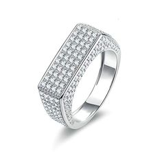 Bishilin Ring for Wedding for Him Iced Out Ring Round White Cubic Zirconia Size 10.5