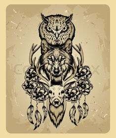 Stock vector of 'Owl, wolf and deer in the style of tattoo'